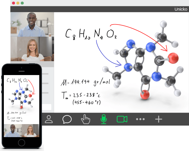 Unicko virtual classroom with hand writing on whiteboard